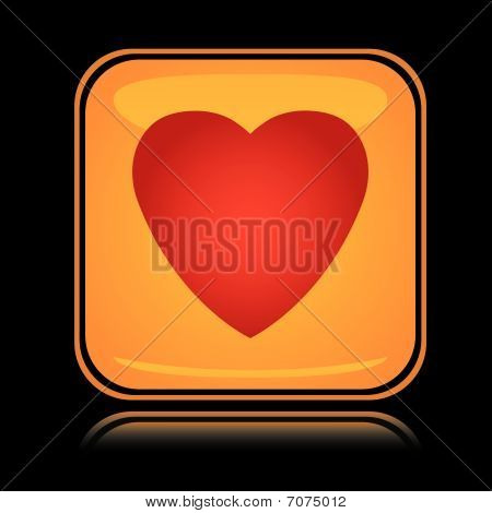Yellow square icon red heart with reflection