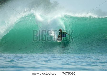 Surfer Riding Fast On Tropical Green Wave, Indonesia