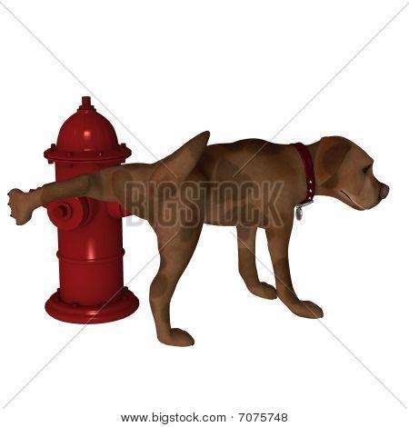 Cartoon Dog - Leg Lift Over Fire Hydrant