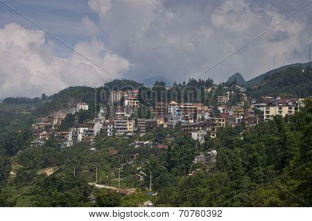 Aerial view of Sapa town