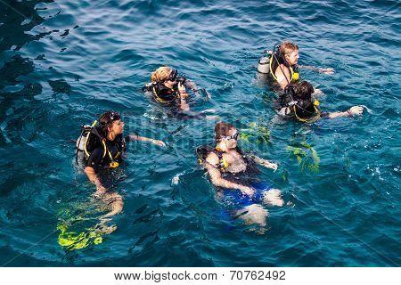Scuba divers at Ko Tao