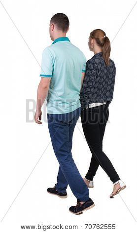 Back view going couple. walking friendly girl and guy holding hands. Rear view people collection. backside view of person. Isolated over white background.  poster