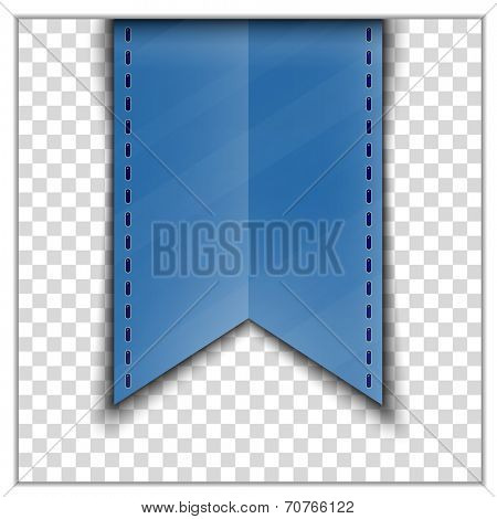 Blue bookmark decoration ribbon on transparent background. Vector illustration