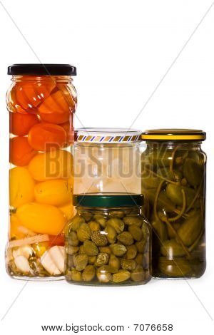 Jars Of Marinaded Vegetables,, Isolated