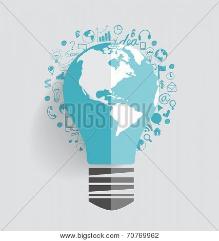 Light bulb with cloud of application. Vector illustration.