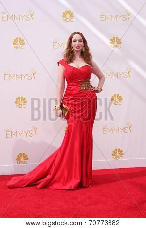 LOS ANGELES - AUG 25:  Christina Hendricks at the 2014 Primetime Emmy Awards - Arrivals at Nokia Theater at LA Live on August 25, 2014 in Los Angeles, CA