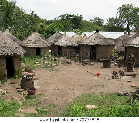 A villge of mud huts in rural Africa