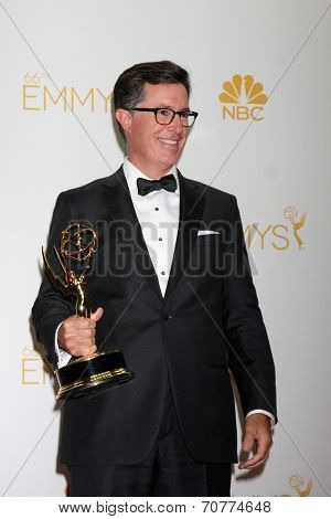LOS ANGELES - AUG 25:  Stephen Colbert at the 2014 Primetime Emmy Awards - Press Room at Nokia Theater at LA Live on August 25, 2014 in Los Angeles, CA