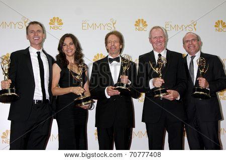 LOS ANGELES - AUG 25:  Phil Keoghan, Elise Doganieri, Jerry Bruckheimer, Bertram van Munster, Jonathan Littman at the EMMY Awards at Nokia Theater on August 25, 2014 in Los Angeles, CA