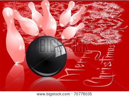 Christmas bowling strike. Red and white abstract background poster