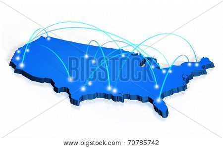 Network coverage map of United States