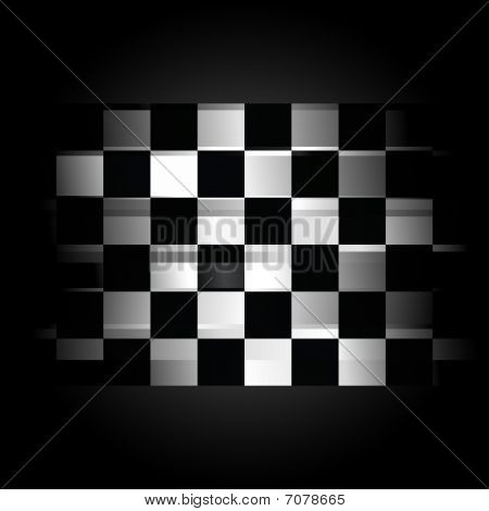 Checkered Racing Flag On Black Background