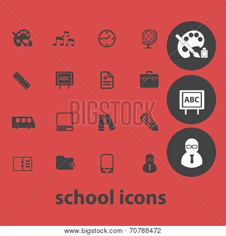 school, education, classwork, study isolated icons, signs, symbols, illustrations, silhouettes, vectors set