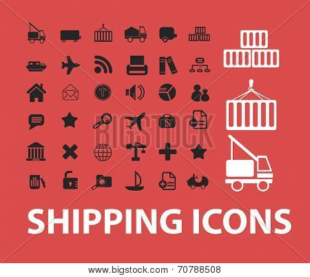 shipping, logistics, transportation isolated icons, signs, symbols, illustrations, silhouettes, vectors set
