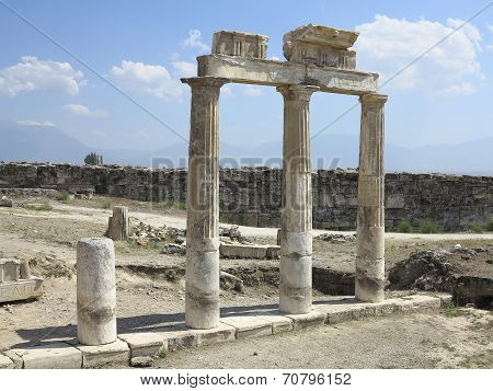 Columns and ruins of ancient Artemis temple in Hierapolis Turkey poster