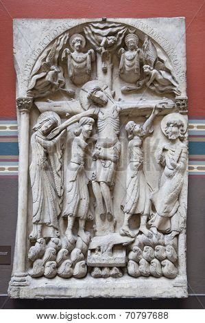 LONDON, UK - AUGUST 24, 2014: Religion sculptures and reliefs in Victoria and Albert Museum.