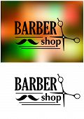 Black and white retro barber shop emblem or logo with moustache, scissors and the text  BARBER shop for service industry design poster