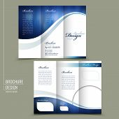 modern style tri-fold template for business advertising brochure in blue poster
