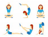 Yoga girl in six positions including handstand  lotus  meditation  push-ups  balance  and bending for suppleness  health  wellness and fitness vector icons on white poster