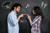 Discussion Between Guy And Girl Over Gray Background poster
