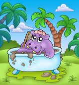 Cute hippo taking mud bath - color illustration. poster