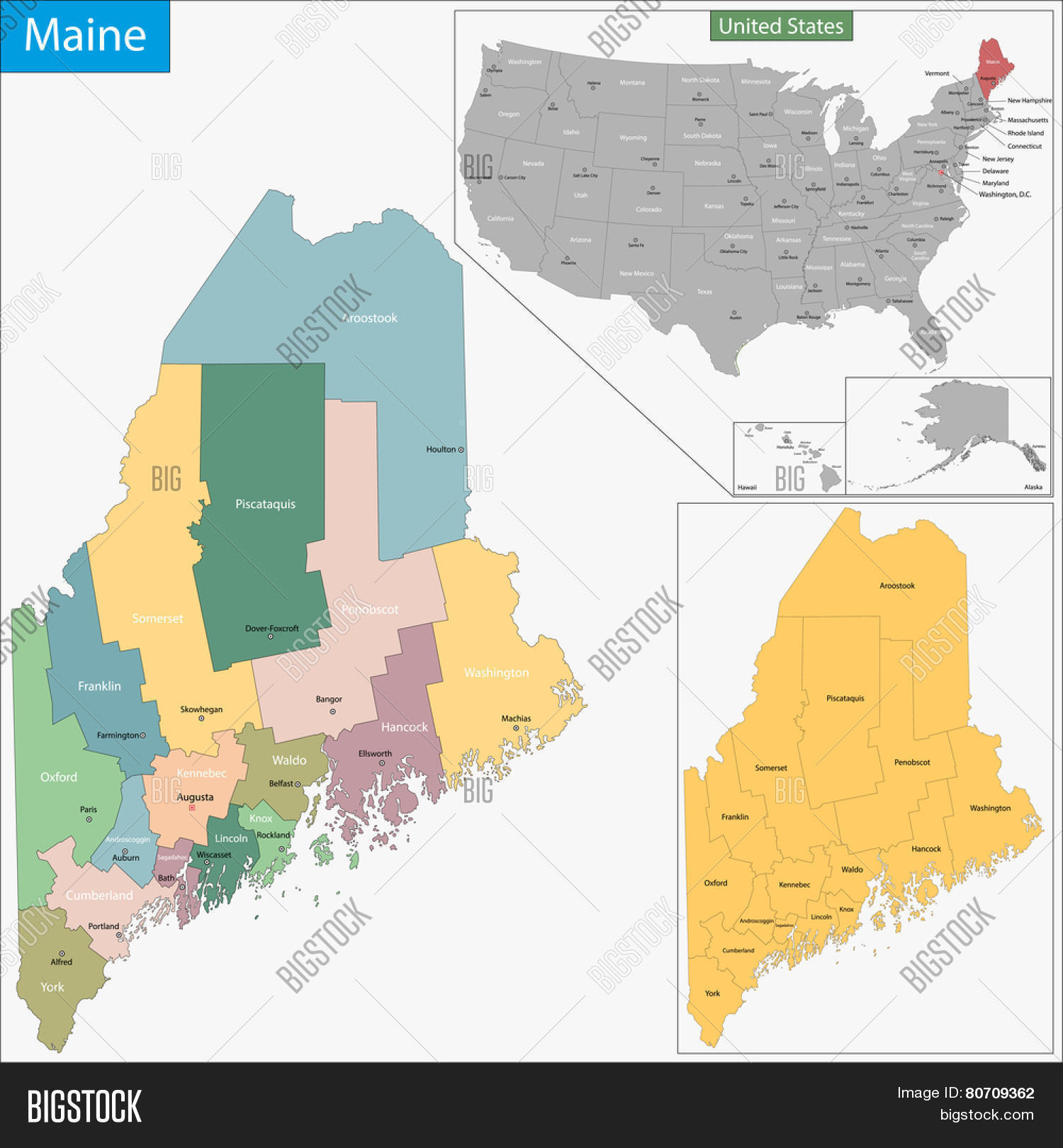 Map Maine State Image & Photo (Free Trial) | Bigstock