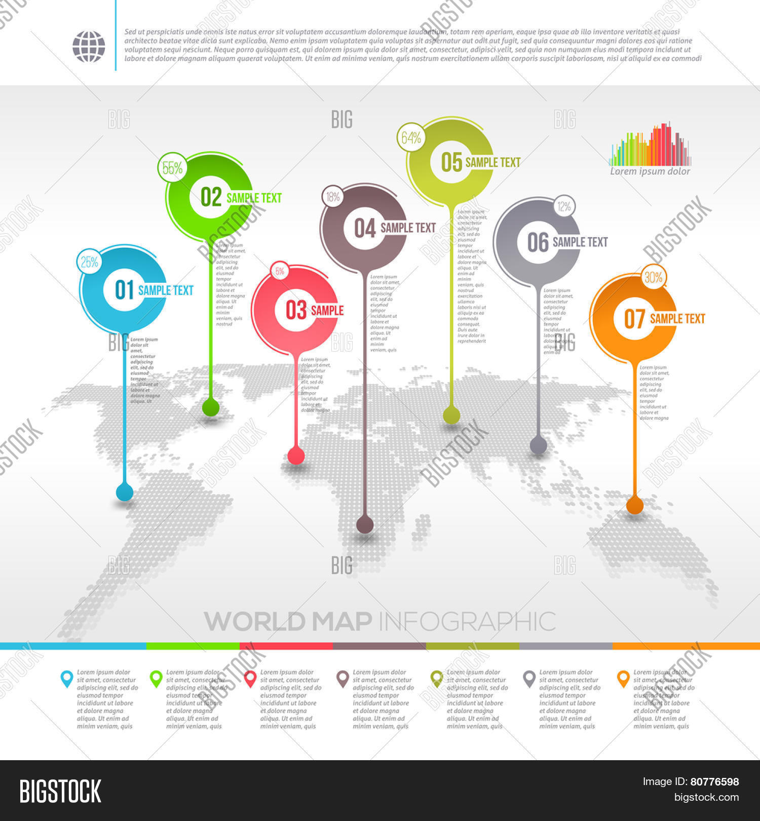 Vector y foto template vector design world map bigstock template vector design world map infographic with map pointers gumiabroncs Choice Image