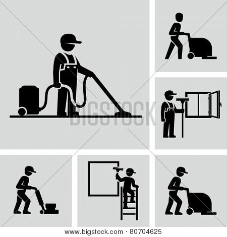 Cleaner Man working Vector Pictogram Figure icons
