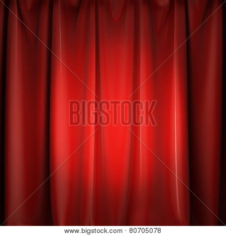A 3d illustration of stage red curtains with spotlight. Copy space to place your text or logo.