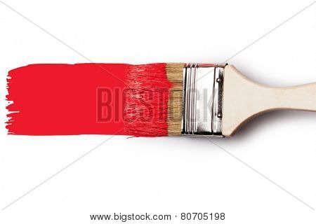 Paintbrush with red paint isolated over white background