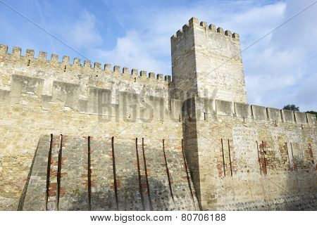 Entrance to the keep of the castle of San Jorge, Lisbon, Portugal.