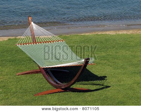 green fabric hammock