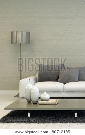 3D Rendering of Detail of Modern Living Room with Metal Floor Lamp, White Sofa, and Coffee Table with Candle Accents