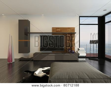 3D Rendering of Entertainment room interior with a large flat screen TV and speakers on a wall alongside floor-to-ceiling glass view windows with a comfy ottoman in the foreground