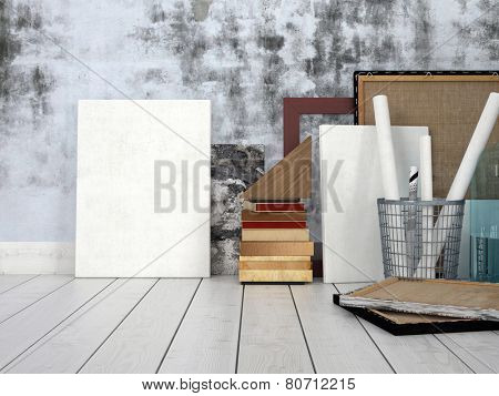 3D Rendering of Blank canvasses against concrete wall. Artist or design studio interior.