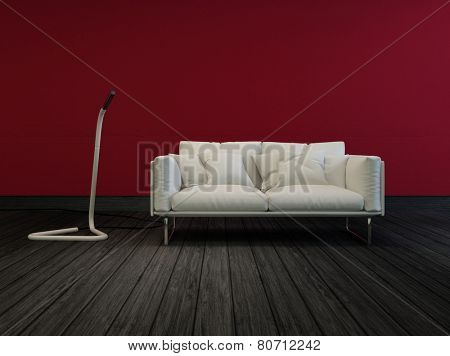 3D Rendering of Small white two-sealer sofa in a sombre room with red walls and a dark wood floor with a modern free standing floor light in an architectural interior decor background