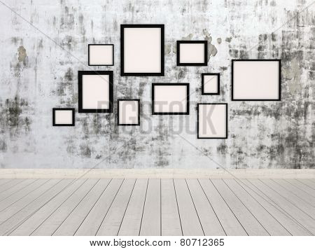3D Rendering of Group of empty simple rectangular picture frames in different sizes hanging on a wall with an abstract mottled grey pattern conceptual of a gallery, exhibit or museum poster
