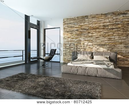 3D Rendering of Modern sunny bedroom overlooking the ocean with a balcony, view window, contemporary double bed with padded upholstered headboard and foot board against a rough stone texture wall