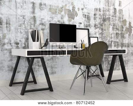 3D Rendering of Stylish modern black and white office interior with a trestle desk with desktop computer, files and photo frames against an abstract grey wall with a contemporary modular black chair poster
