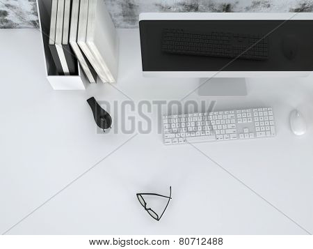 3D Rendering of Modern home office or business workstation with neatly arranged notebooks, spectacles and a modern desktop computer with wide angle monitor, closeup view from above