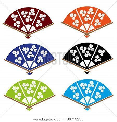 Asian Hand Fan Various Colors Set Eps10