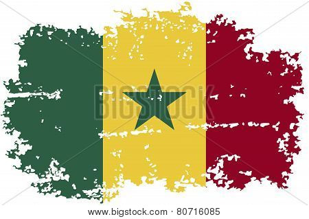 Senegalese grunge flag. Vector illustration.