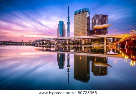 Tokyo, Japan skyline on the Sumida River at dawn.