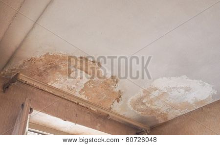 Damage caused by damp and moisture on a ceiling poster