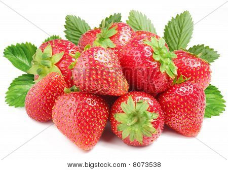 Group of appetizing strawberries