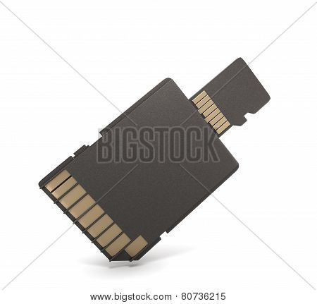 Micro SD card and adapter isolated on white background. 3d render image. poster