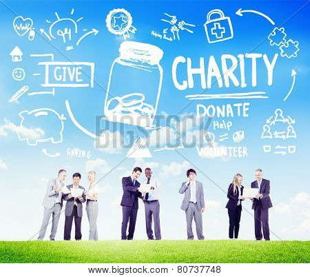 Business People Discussion Give Help Donate Charity Concept poster