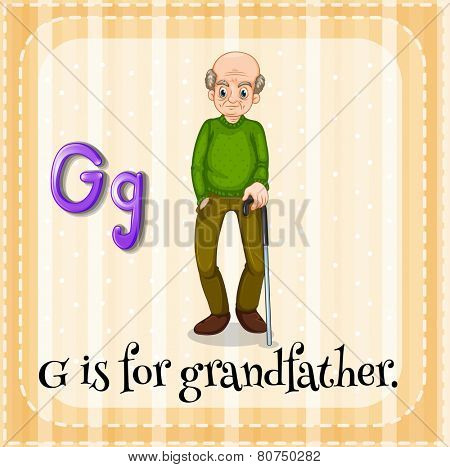 Illustration of a letter g is for grandfather