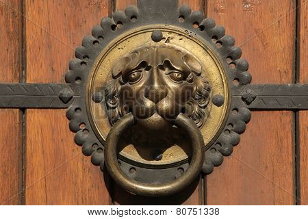 Knocker at a door of St Thomas Church (Thomaskirche) in Leipzig, Saxony, Germany.