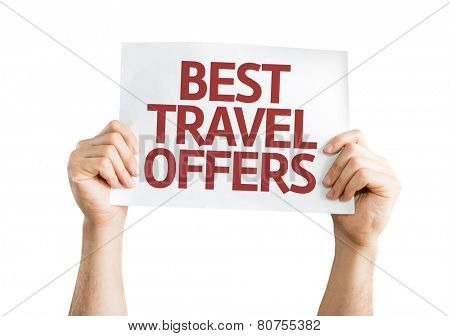 Best Travel Offers card isolated on white background